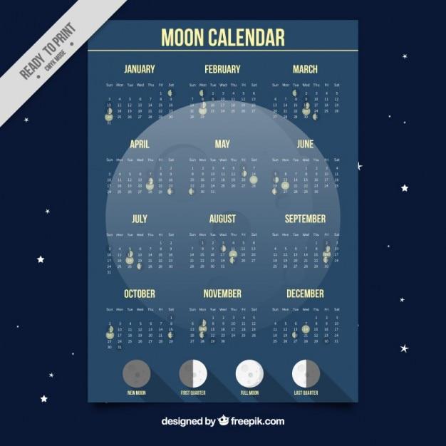 Lune calendrier Vecteur gratuit