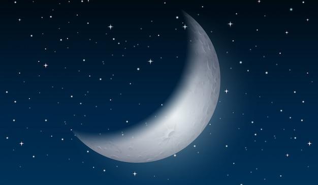 Une lune sur le ciel Vecteur Premium