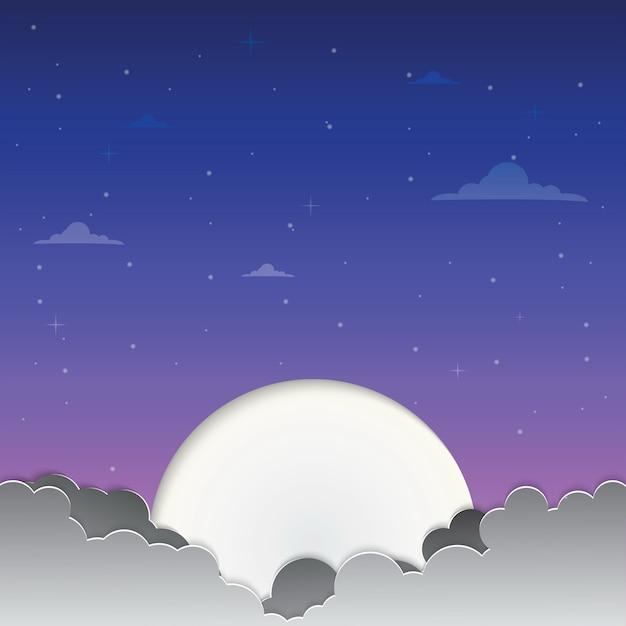 Lune dans le ciel Vecteur Premium