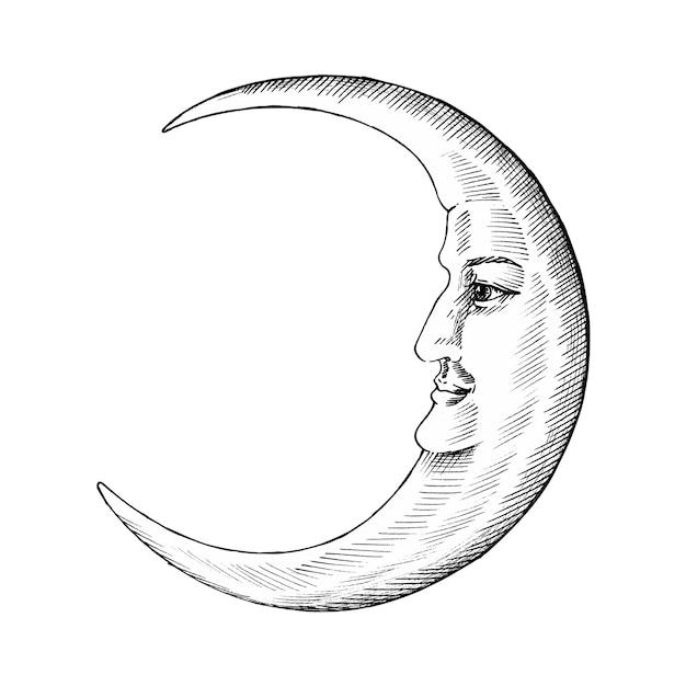 Lune dessinée à la main avec le visage Vecteur Premium
