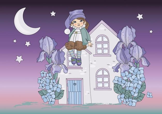 Lune dwarf cartoon color vector illustration set Vecteur Premium