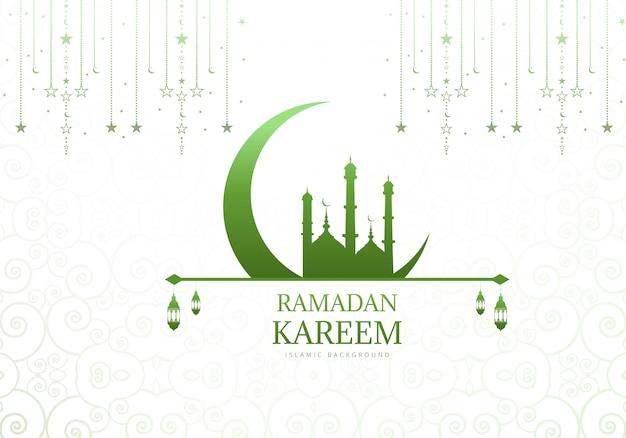 Lune élégante Avec Fond De Ramadan Kareem Mosquée Vecteur gratuit