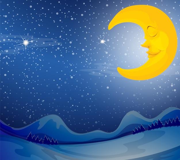 Une lune endormie Vecteur Premium