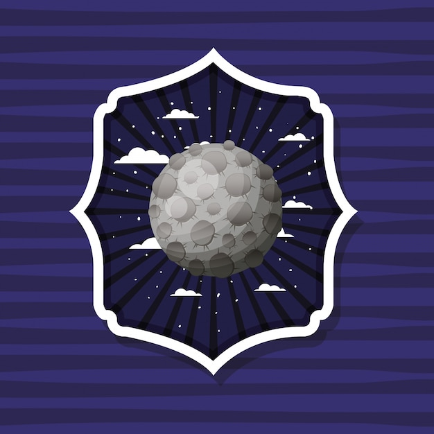 Lune sur étiquette rayée Vecteur gratuit
