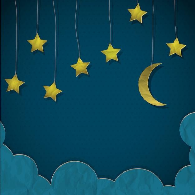 Lune et étoiles en papier Vecteur Premium