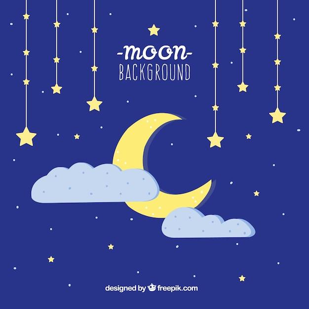 Lune fond de ciel nocturne avec des étoiles et des nuages Vecteur gratuit