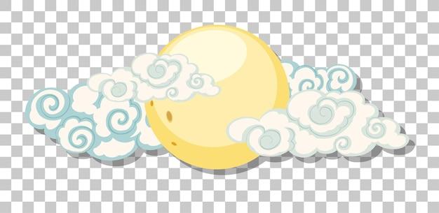 La Lune Avec Des Nuages Dans Un Style Chinois Isolé Sur Fond Transparent Vecteur Premium