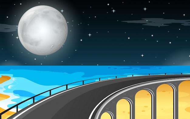 Lune sur la plage Vecteur gratuit