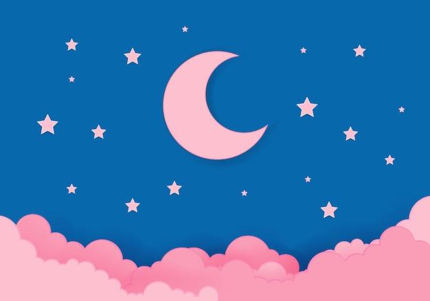 Lune rose et étoiles à minuit Vecteur Premium