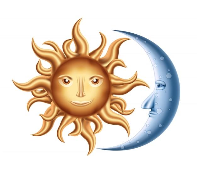 Lune et soleil Vecteur gratuit