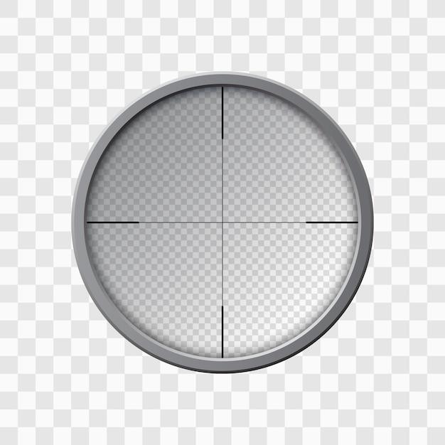 Lunette De Visée Pour Fusil De Sniper. Objectif De L'arme. Modèle De Verre Optique. Concept De Cible, Illustration Vecteur Premium
