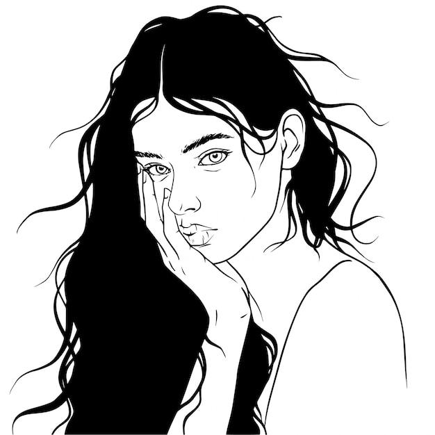 Lunettes d'illustration vectorielle belle fille cheveux Vecteur Premium