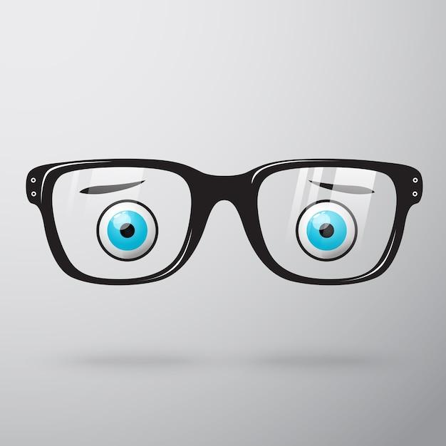 Lunettes inquiètes avec des yeux Vecteur gratuit