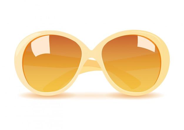 Lunettes de soleil jaune vecteur réaliste isolés Vecteur Premium