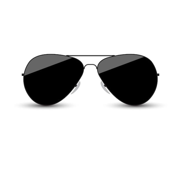 Lunettes de soleil noires avec verre foncé sur fond blanc. Vecteur Premium