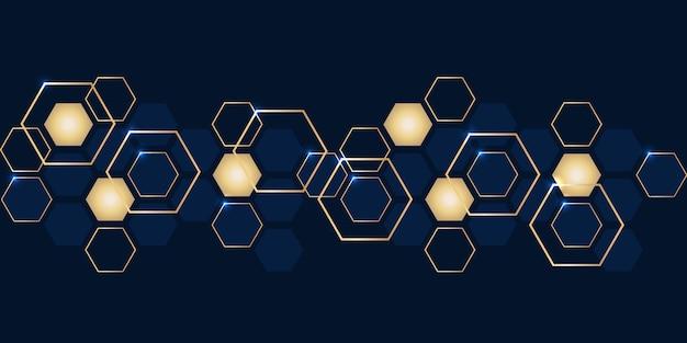 Luxe abstrait or et fond d'hexagones bleu marine. Vecteur Premium