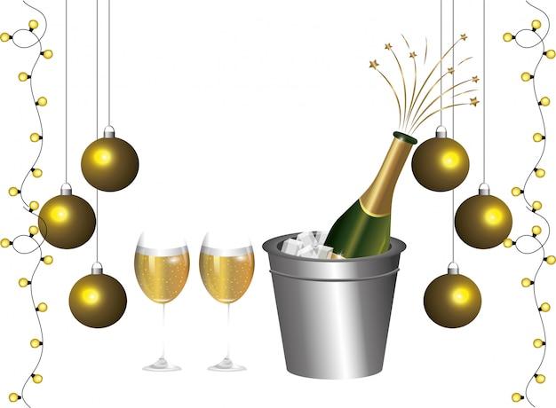 Luxe et élégant cartoon de décoration de réveillon du nouvel an Vecteur Premium