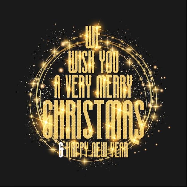 Luxe, Nous Vous Souhaitons Une Carte De Joyeux Noël Avec Cadre De Conception De Texture Dorée Vecteur gratuit