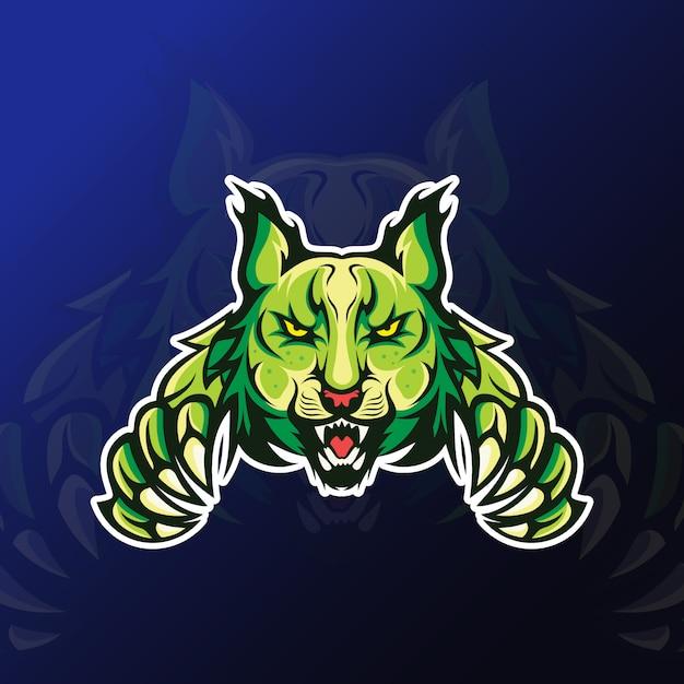 Lynx En Colère Avec Mascotte De Griffe Pour Les Jeux D'esport Vecteur Premium