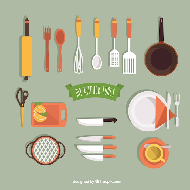 Ma collection d 39 outils de cuisine t l charger des vecteurs gratuitement - Outil de cuisine liste ...