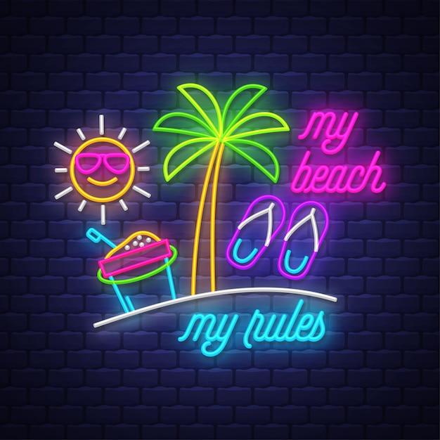 Ma plage, mes règles. inscription au néon Vecteur Premium