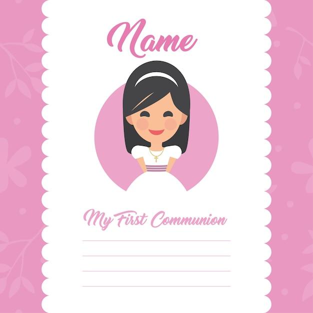 Ma Première Conception De Fille De Modèle De Communion Vecteur gratuit