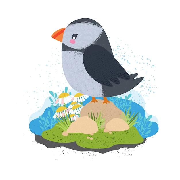 Macareux. bel oiseau mignon Vecteur gratuit