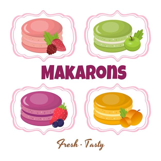 Macarons et ingrédients Vecteur Premium