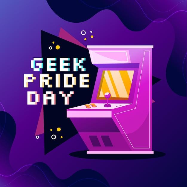 Machine D'arcade Geek Pride Day Vecteur Premium