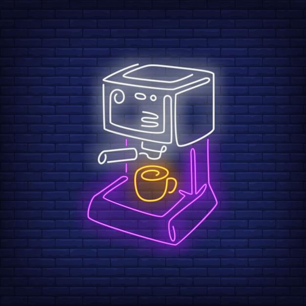 Machine à café au néon. Vecteur gratuit