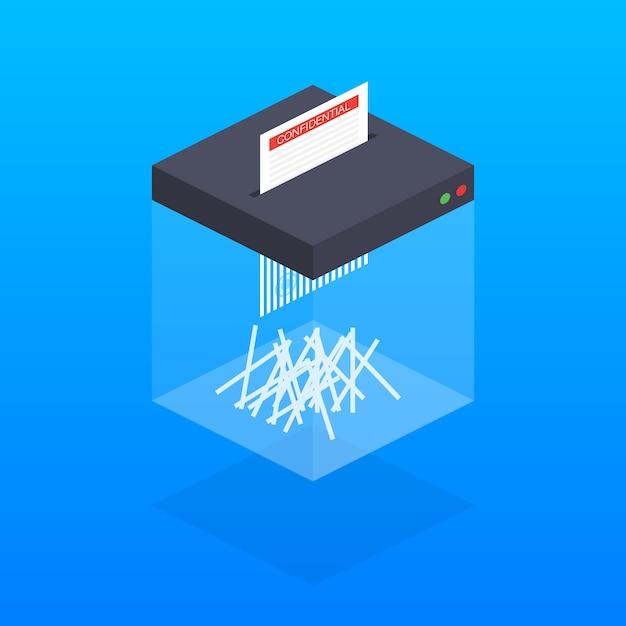 Machine De Déchiquetage Isométrique. Appareil De Bureau Pour La Destruction De Documents. Vecteur Premium