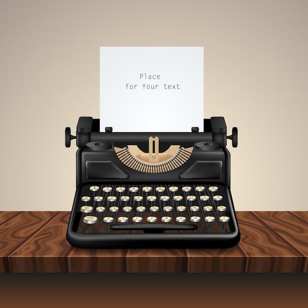 Machine à écrire Vintage Noire Sur Table En Bois Vecteur gratuit