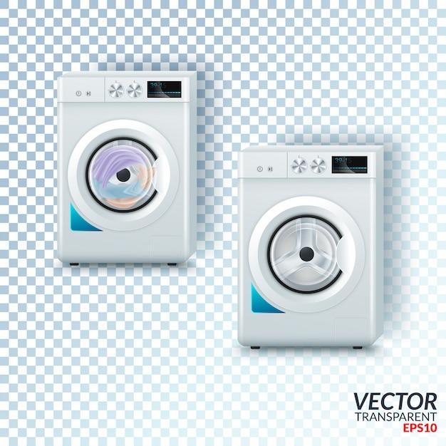 Machine à laver en acier blanc moderne réaliste Vecteur Premium