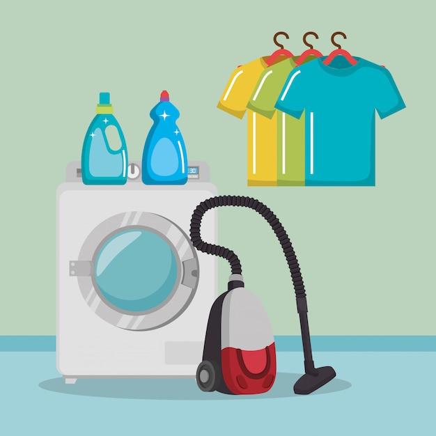 Machine à laver avec des icônes de service de blanchisserie Vecteur gratuit