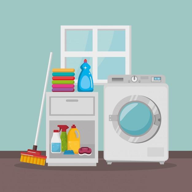 Machine à laver avec service de blanchisserie Vecteur gratuit
