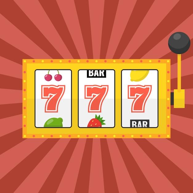 Machine à Sous Dorée Avec Jackpot Lucky Sevens Vecteur Premium