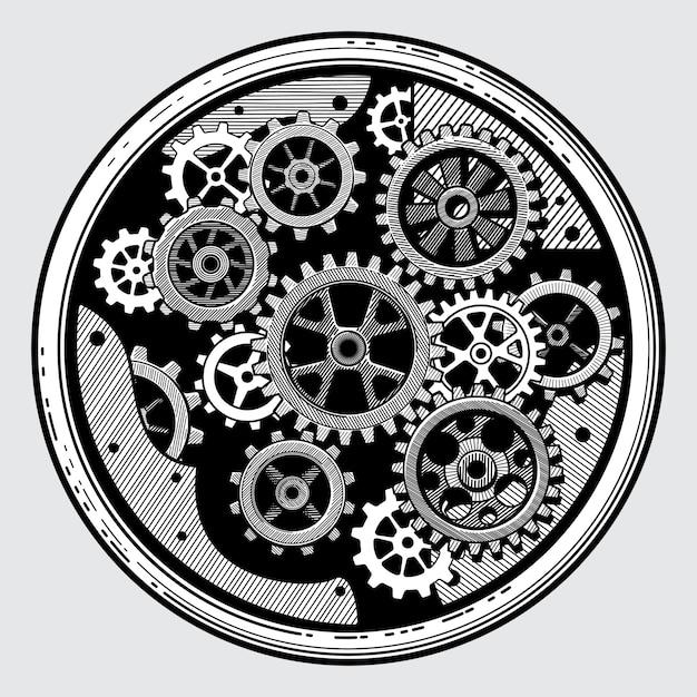 Machinerie industrielle vintage à engrenages. transmission à crémaillère à la main dessinée illustration vectorielle vieux style Vecteur Premium