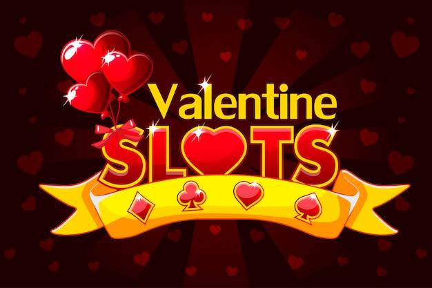 Machines à Sous De Casino, Bannière De Saint-valentin, économiseur D'écran De Jeu De Fond. Vecteur Premium