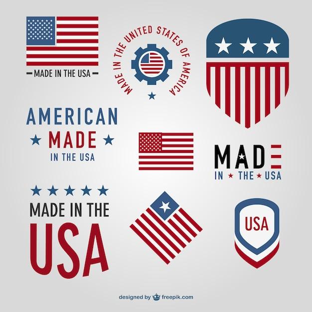 Made In Usa Badges Vecteur Vecteur Premium