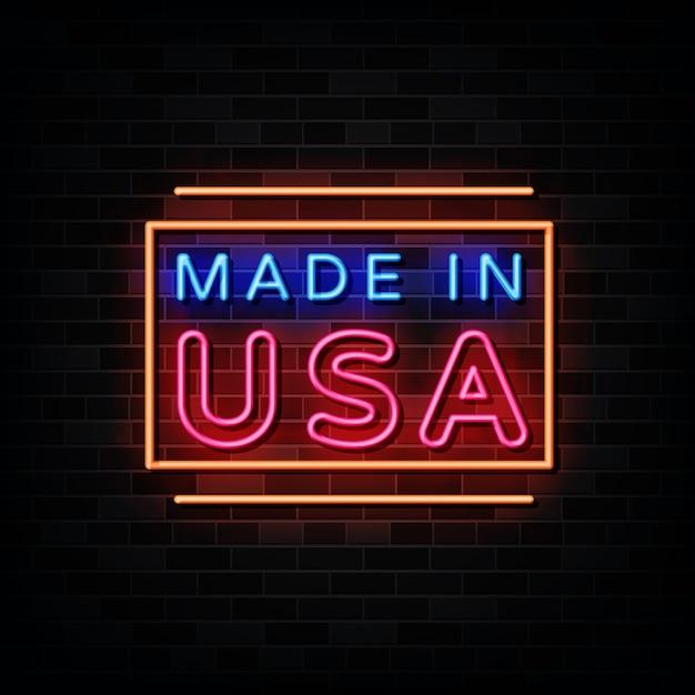 Made In Usa En Néon. Enseigne Au Néon De Modèle De Conception Vecteur Premium