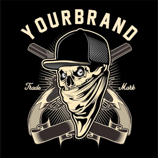 Mafia de crâne avec dessin de la main d'un pistolet Vecteur Premium
