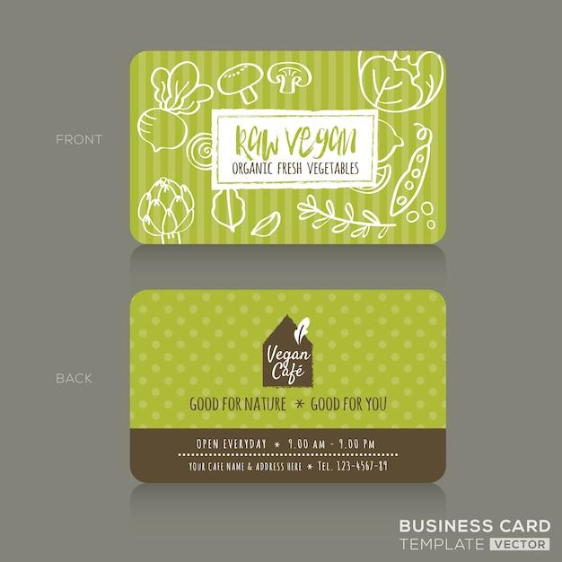 Magasin d'alimentation biologique ou café végétalien modèle de conception de carte de visite avec des fruits et légumes Vecteur gratuit