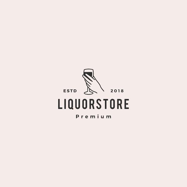 Magasin de boissons alcoolisées magasin café bière vin logo illustration vectorielle Vecteur Premium