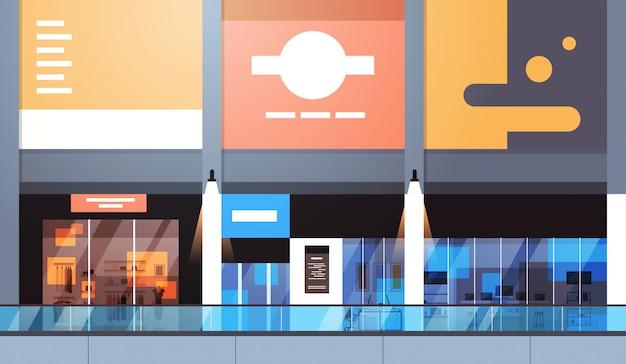 Magasin de détail moderne avec beaucoup de magasins et intérieur vide de supermarché Vecteur Premium