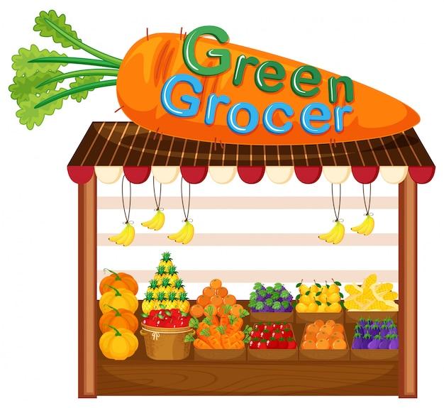 Magasin de fruits et légumes biologiques Vecteur gratuit
