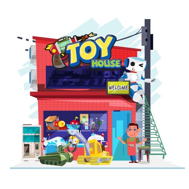 Magasin de jouets - illustration vectorielle Vecteur Premium