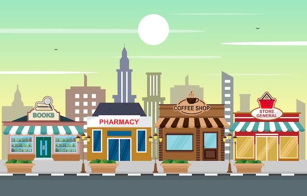 Magasin magasin paysage en ville urbaine avec tree sky Vecteur Premium