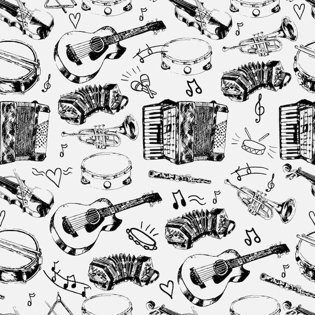 Magasin de musique décoratif papier d'emballage motif sans couture avec cordes classiques percussion instruments de jazz doodle sketches illustration vectorielle Vecteur gratuit