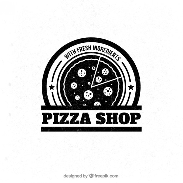 Magasin De Pizza Insigne Vecteur Premium
