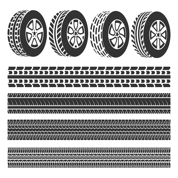 Magasin de pneus, traces de pneus vecteur défini Vecteur Premium
